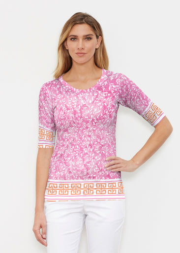 Greek Leaves Pink-Orange (10171) ~ Elbow Sleeve Crew Shirt
