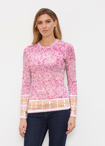 Greek Leaves Pink-Orange (10171) ~ Butterknit Long Sleeve Crew Top
