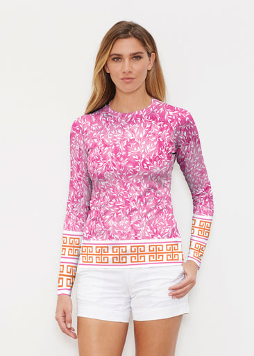 Greek Leaves Pink-Orange (10171) ~ Long Sleeve Rash Guard