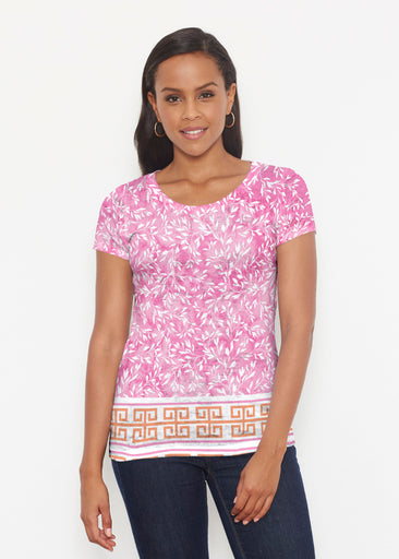 Greek Leaves Pink-Orange (10171) ~ Short Sleeve Scoop Shirt