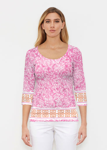 Greek Leaves Pink-Orange (10171) ~ Signature 3/4 Sleeve Scoop Shirt