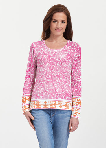 Greek Leaves Pink-Orange (10171) ~ Texture Mix Long Sleeve