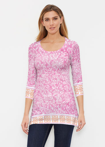 Greek Leaves Pink-Orange (10171) ~ Buttersoft 3/4 Sleeve Tunic