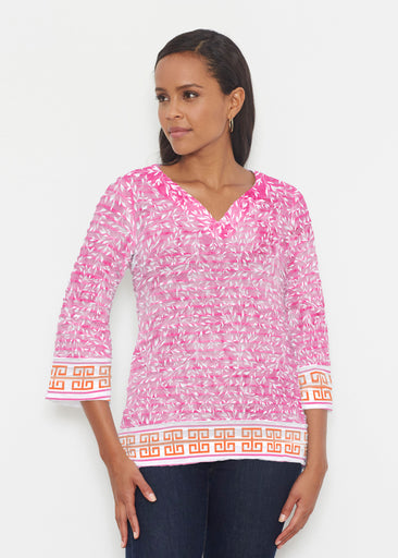 Greek Leaves Pink-Orange (10171) ~ Banded 3/4 Bell-Sleeve V-Neck Tunic