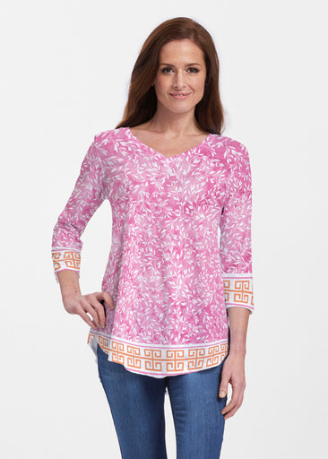 Greek Leaves Pink-Orange (10171) ~ V-neck Flowy Tunic