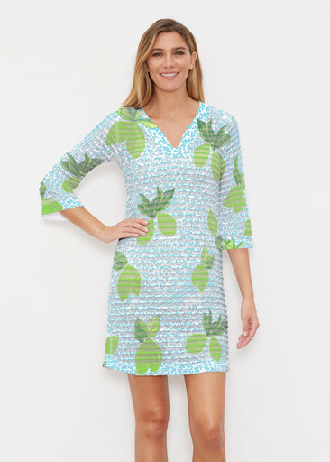 Limes Aqua (10179) ~ Banded 3/4 Sleeve Cover-up Dress