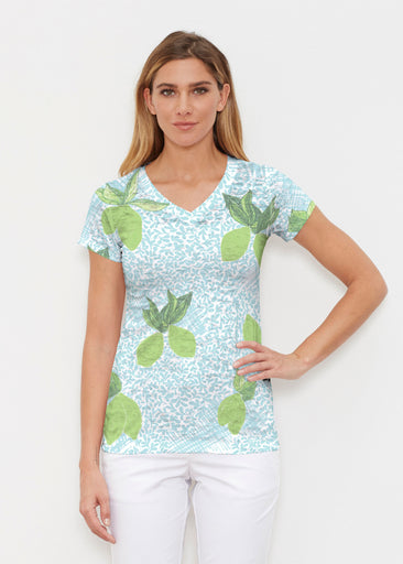 Limes Aqua (10179) ~ Signature Cap Sleeve V-Neck Shirt