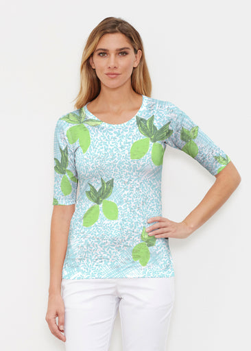 Limes Aqua (10179) ~ Signature Elbow Sleeve Crew Shirt