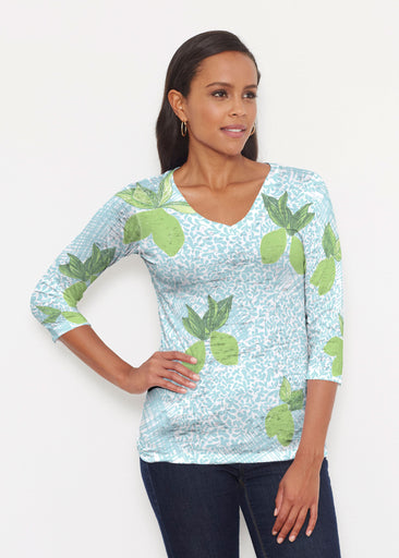 Limes Aqua (10179) ~ Signature 3/4 V-Neck Shirt