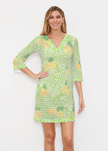 Pineapple Lime (10180) ~ Banded 3/4 Sleeve Cover-up Dress