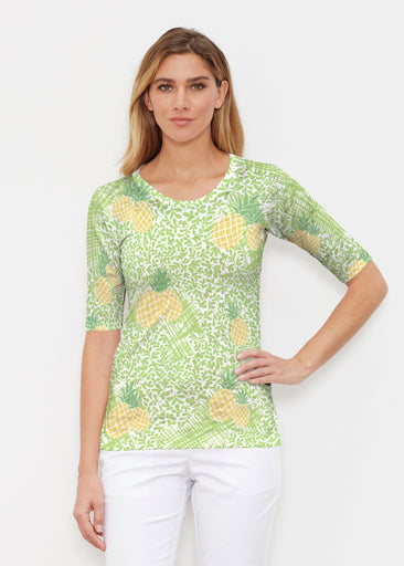 Pineapple Lime (10180) ~ Signature Elbow Sleeve Crew Shirt
