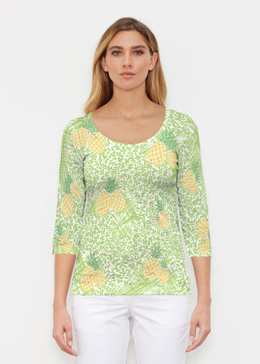 Pineapple Lime (10180) ~ Signature 3/4 Sleeve Scoop Shirt