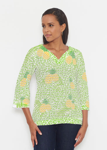 Pineapple Lime (10180) ~ Banded 3/4 Bell-Sleeve V-Neck Tunic
