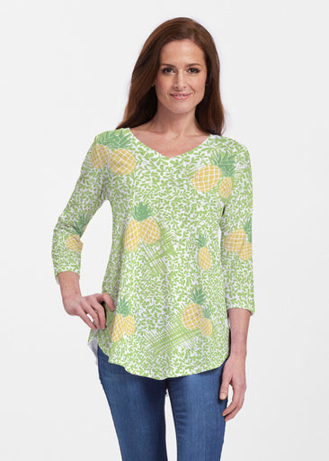 Pineapple Lime (10180) ~ V-neck Flowy Tunic
