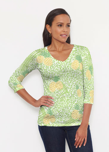 Pineapple Lime (10180) ~ Signature 3/4 V-Neck Shirt
