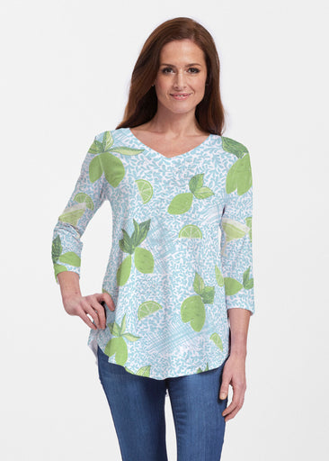 Margarita Lime (10181) ~ V-neck Flowy Tunic
