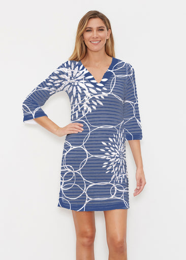 Reflection Navy (11040) ~ Banded 3/4 Sleeve Cover-up Dress