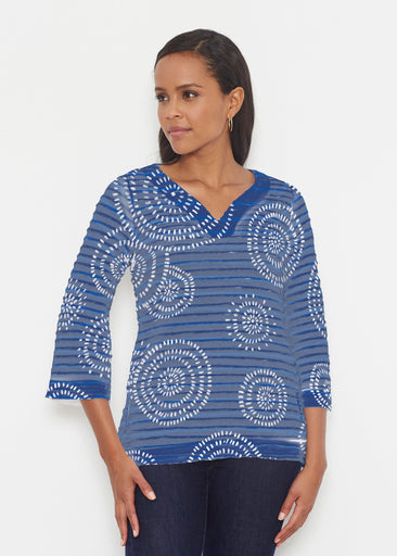 Celebration Navy (11075) ~ Banded 3/4 Bell-Sleeve V-Neck Tunic