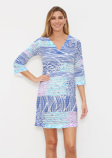 Tidal Stripe (11080) ~ Banded 3/4 Sleeve Cover-up Dress