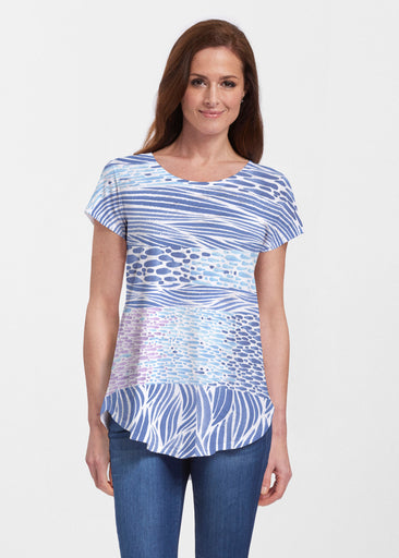 Tidal Stripe (11080) ~ Signature Short Sleeve Scoop Neck Flowy Tunic