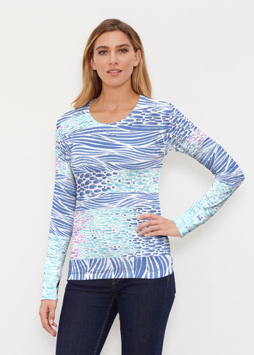 Tidal Stripe (11080) ~ Thermal Long Sleeve Crew Shirt