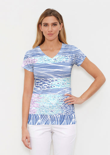 Tidal Stripe (11080) ~ Signature Cap Sleeve V-Neck Shirt