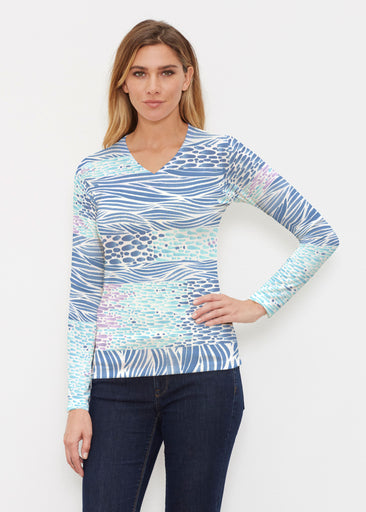 Tidal Stripe (11080) ~ Butterknit Long Sleeve V-Neck Top
