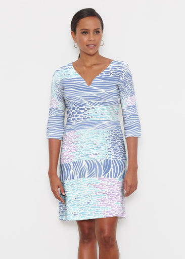 Tidal Stripe (11080) ~ Classic 3/4 Sleeve Sweet Heart V-Neck Dress