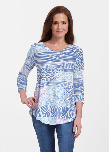 Tidal Stripe (11080) ~ V-neck Flowy Tunic