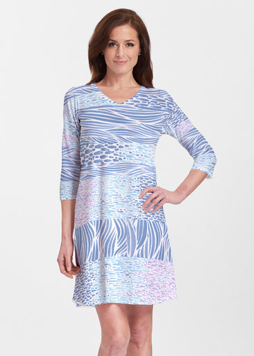 Tidal Stripe (11080) ~ V-neck Swing Dress