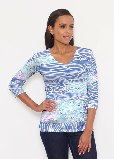 Tidal Stripe (11080) ~ Signature 3/4 V-Neck Shirt