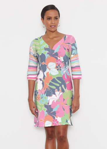 Hawaiian Resort (13020) ~ Classic 3/4 Sleeve Sweet Heart V-Neck Dress
