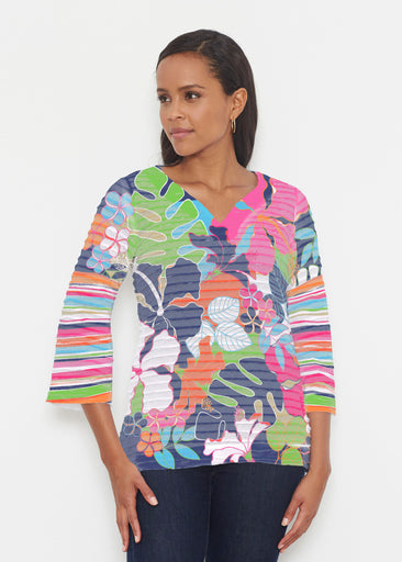 Hawaiian Resort (13020) ~ Banded 3/4 Bell-Sleeve V-Neck Tunic