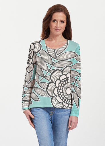 Salt Air Turquoise (13038) ~ Texture Mix Long Sleeve