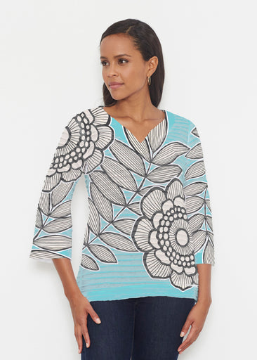 Salt Air Turquoise (13038) ~ Banded 3/4 Bell-Sleeve V-Neck Tunic