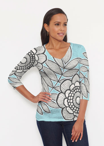 Salt Air Turquoise (13038) ~ Signature 3/4 V-Neck Shirt