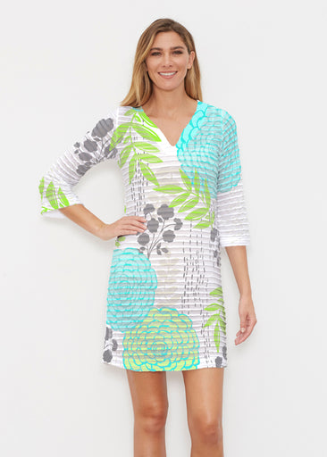 Hula White (13039) ~ Banded 3/4 Sleeve Cover-up Dress