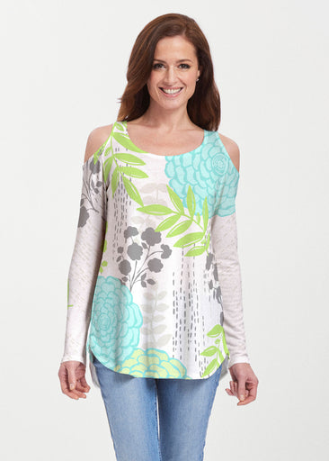 Hula White (13039) ~ Cold Shoulder Tunic