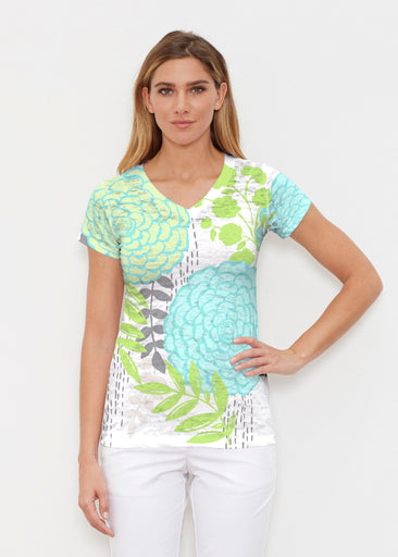 Hula White (13039) ~ Signature Cap Sleeve V-Neck Shirt
