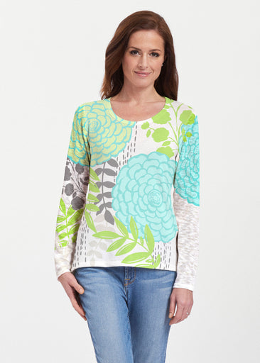 Hula White (13039) ~ Texture Mix Long Sleeve