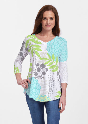 Hula White (13039) ~ V-neck Flowy Tunic