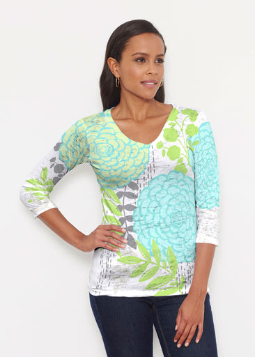Hula White (13039) ~ Signature 3/4 V-Neck Shirt