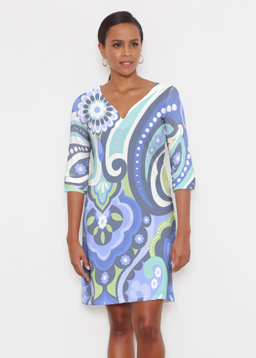 Jazz Blue (13070) ~ Classic 3/4 Sleeve Sweet Heart V-Neck Dress