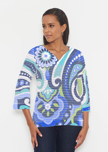 Jazz Blue (13070) ~ Banded 3/4 Bell-Sleeve V-Neck Tunic