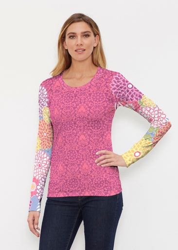 Happy Pink (13120) ~ Thermal Long Sleeve Crew Shirt