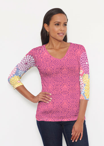 Happy Pink (13120) ~ Signature 3/4 V-Neck Shirt