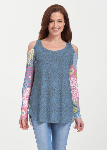 Happy Blue (13121) ~ Cold Shoulder Tunic