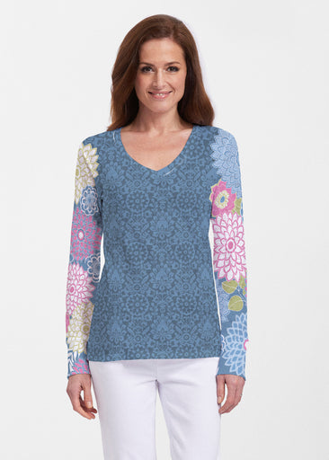 Happy Blue (13121) ~ Thermal Long Sleeve V-Neck Shirt
