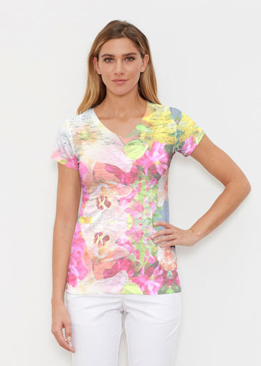 Mirage Pink (13140) ~ Signature Cap Sleeve V-Neck Shirt