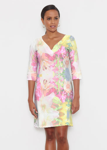 Mirage Pink (13140) ~ Classic 3/4 Sleeve Sweet Heart V-Neck Dress
